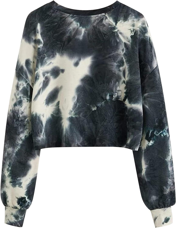 Hooded Crop Sweatshirts for Women Zip Up Hoodies Tie Dye Casual Workout Long Sleeve Crop Tops Sweatshirt