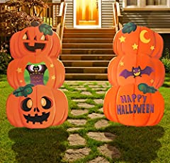 SUPER VALUE PACK. These Metal Yard Sign includes 2 sets of high-quality metal material hold well and sturdy in every weather conditions, durable, waterproof sign and also reusable. Comes in designs classic pumpkin and ghost. UNIQUE DESIGN & EASY TO U...