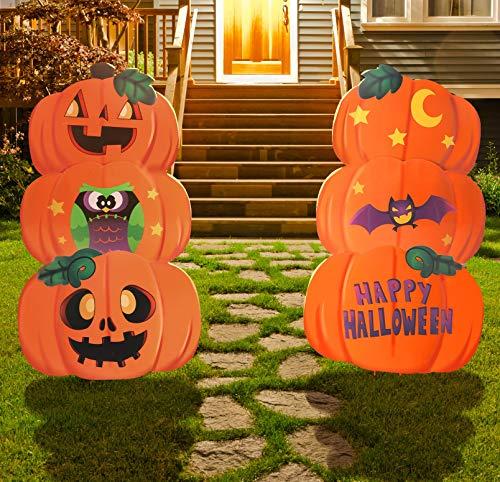 JOYIN 2 Set Metal Halloween Pumpkin & Ghost Lawn Yard Stake Signs Outdoor Decorations for Halloween, Outdoor Decoration, and Halloween-Themed Party Decorations