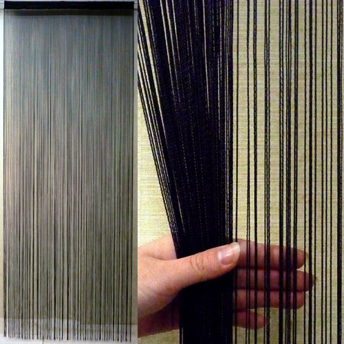 KJ ストリングカーテン 高さ 200cm × 横 100cm(フリンジ・ひものれん) (ブラック)