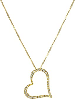 Roberto Coin Tiny Treasures 18K Yellow Gold Slanted Open Heart Necklace