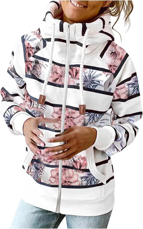 Zip Up Hoodie Coat for Women Autumn & Winter Turtleneck Drawstring Hooded Outerwear Striped Print Warm Jacket