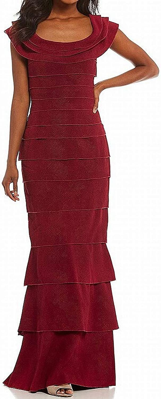 Tadashi Shoji Womens Ruffled Textured Evening Dress