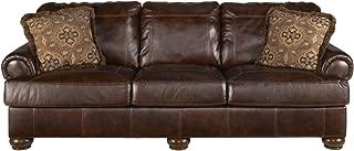 Ashley Furniture Axiom Leather Sofa in Walnut