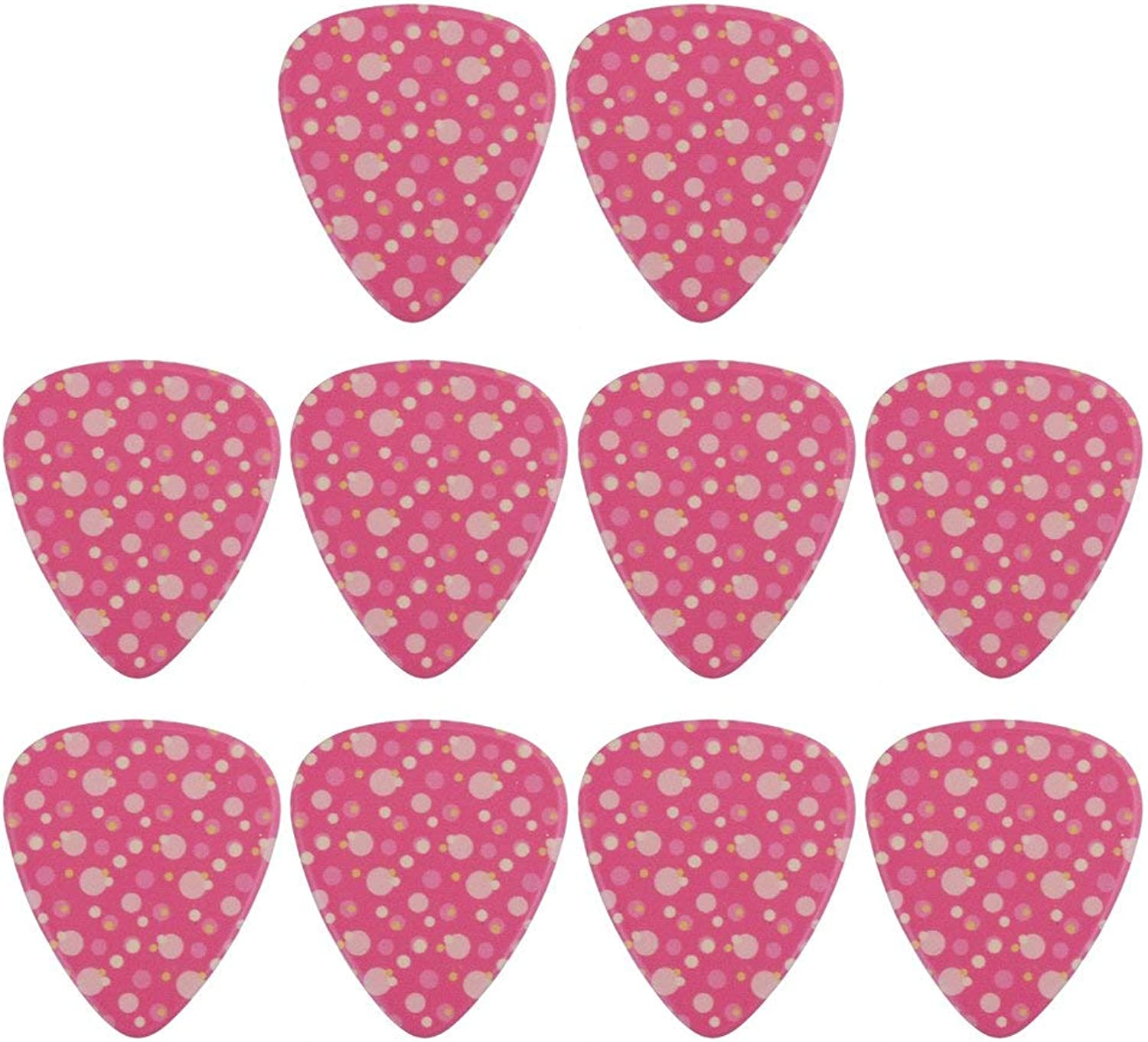 Yibuy 0.96mm Thickness ABS Plastic Pink Tiny Spots Pattern Electric Guitar Picks Pack of 10