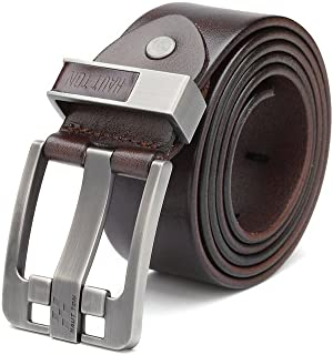 Men's Genuine Leather Sliding Belt Buckle