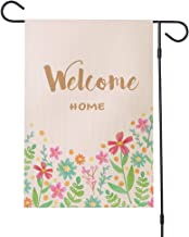 Jtayiba Welcome Home Garden Flag Flowers Burlap Double Sided 12×18in Front Yard Flags Windproof UV Fade Resistant