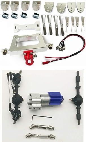 fürOnly Metall-DIY-Zubeh für RC WPL JJRC B14 B24 C14 B36 Q60 Q61 Auto Chassis Metallteile + 4X4 Schwarz Vorder- und Hinterachsbaugruppe + silbernes Getriebe + 1 Antriebswelle