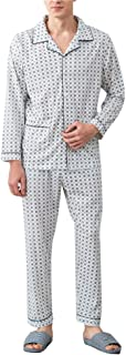 Zhhlinyuan 良質 メンズ Simple Casual Long sleeves Pajama Adult Classic Cotton Nightwear Set