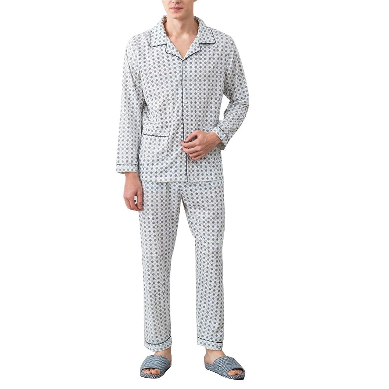 Zhhlinyuan 良質 メンズ Simple Casual Long sleeves Pajama Adult Classic Cotton Nightwear Set