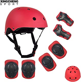 SLA-SHOP Kids Boys and Girls Protective Gear Set, Outdoor Sports Safety Equipment 7Pcs Child Helmet Knee &Elbow Pads Wrist Guards for Roller Scooter Skateboard Bicycle(3-8Years Old)