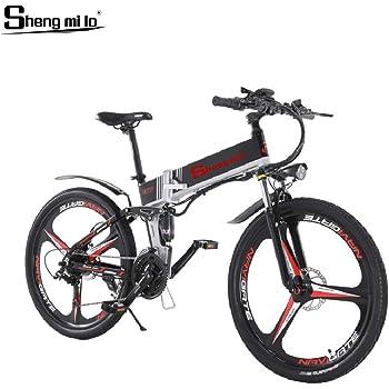Shengmilo-M80 Bicicleta De Montaña Eléctrica, Bicicleta Eléctrica Plegable De 26 Pulgadas, Suspensión Completa De 48v 13ah Y Velocidad Shimano 21, con Estante Trasero (Negra Rueda integrada 350W): Amazon.es: Deportes y aire libre