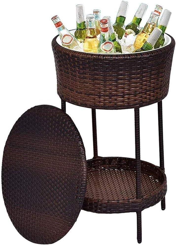 LHLYL-DP Muebles de Exterior Cubitera/Mesa marrón - Mesa de jardín con Bandeja para Cubitos de Hielo, Caja de Almacenamiento Exterior, para Bebidas frías