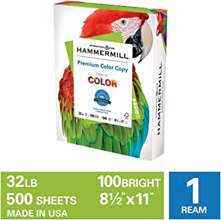 Hammermill Premium Color Copy 32lb Copy Paper, 8.5x11, 1 Ream, 500 Sheets, Made in USA, Sustainably Sourced From American Family Tree Farms, 100 Bright, Acid Free, Color Copy Printer Paper, 102630R