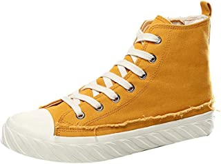 Shangruiqi Casual Sneakers for Men Walking Ankle Shoes Lace up Side Zipper Canvas Shoes Antislip Outsole High Top Anti-Wear (Color : Yellow, Size : 6.5 UK)