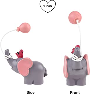 Newqueen Resin Elephant Cake Topper with Balloon Bird Baby Shower Girl Birthday Party Desktop Cake Decoration Pink 1 PCS