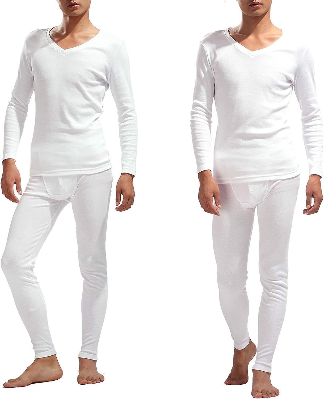 Mucwer Men's Thermal Underwear Knitting Cotton Soft Sleepwear Long Sleeve Pajama Shirt and Pantsr 2 Set (XXS-XL) at  Men's Clothing store