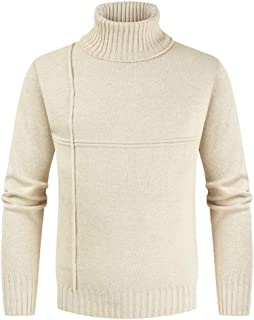 IFOUNDYOU Pullover Men's Collar Rolls Narrow Wool Men's Pullover Knit Sweater Men's Autumn Winter Casual Solid Color Sweat...