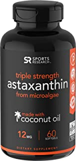 Triple Strength Astaxanthin (12mg) with Organic Coconut Oil for Better Absorption