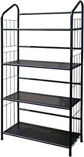 Legacy Decor 4 Tier Metal Utility Rack Bookcase Bookshelf Black Finish 48.5