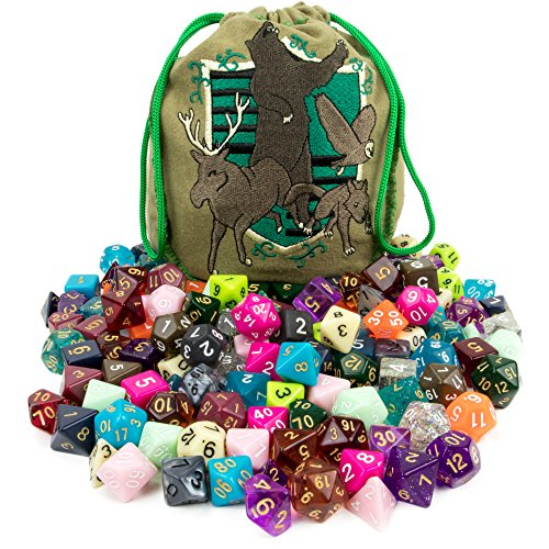 Wiz Dice Bag of Tricks: Collection of 140 Polyhedral Dice in 20 Guaranteed Complete Sets for Tabletop Role-Playing Games