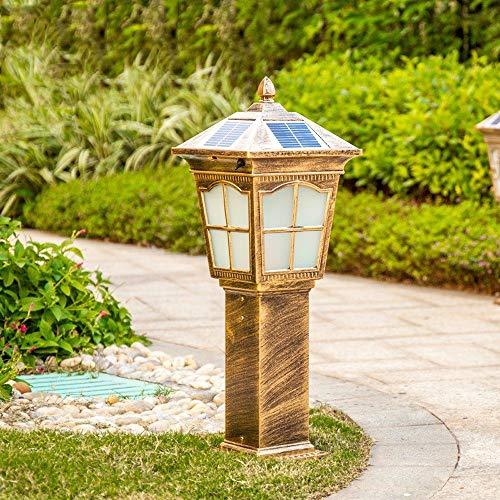 KMYX waterdichte led-vloerlamp met bronzen afwerking, gegoten aluminium, bronskleur, geborsteld bronsstijl voor gazon, lantaarn, vloerlamp, IP44