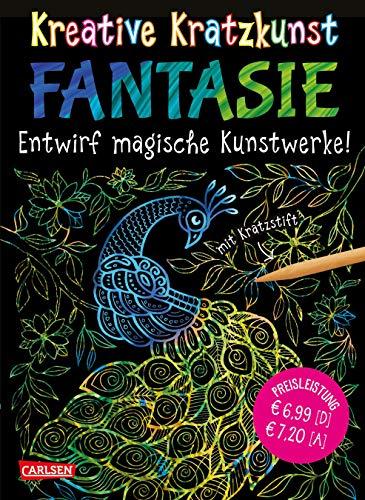 Kreative Kratzkunst: Fantasie: Set mit 10 Kratzbildern, Anleitungsbuch und Holzstift