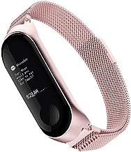 Simpeak Correa Compatible Xiaomi Mi Band 3 (5.5-6.7 Pulgadas), Pulseras de Acero Inoxidable Wristband Repuesto Bandas Xiaomi Mi Band 3 Fitness con Cerradura Imán Único,Rosa