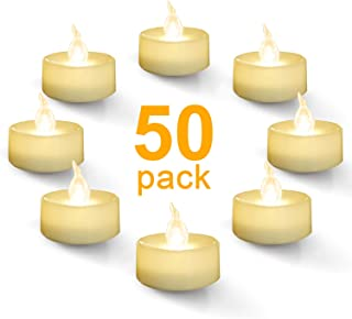 Homemory Battery Tealight Bulk, Set of 50 Warm White Flameless Flickering Tea Light Candles Battery Operated, Long-Lasting Battery Life, Ideal for Votive, Party, Dining Room