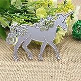 zmigrapddn Fustelle Stencil,Cavallo Unicorno Goffratura Taglio Muore Modello per Creazione Carte Scrapbook Album Carta Artigianale,Metallo
