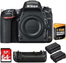 Nikon D750 DSLR 24.3MP HD 1080p FX-Format Digital Camera Body Bundle with 64GB Memory Card, Battery Grip, 2X Rechargeable Li-Ion Battery, 1 Year Extended Warranty