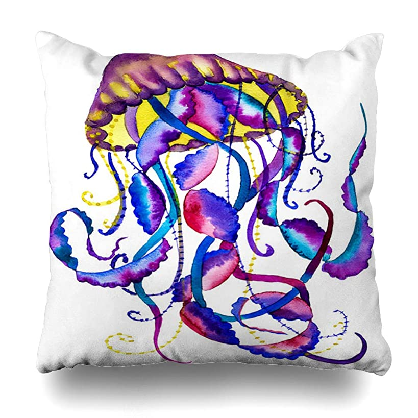 Ahawoso Throw Pillow Cover Tentacles Blue Abstract Watercolor Painting Jellyfish Colored Fantasy Medusa Tattoo Pink Aquarium Home Decor Pillowcase Square Size 16