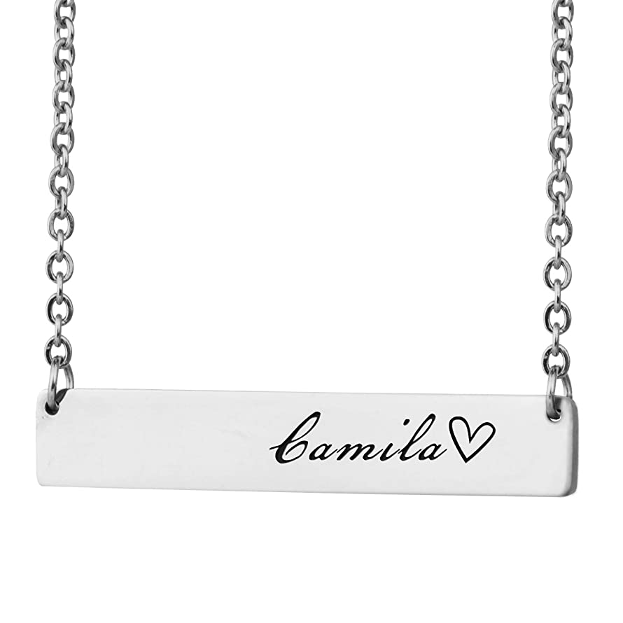 HUAN XUN Personalized Bar Custom Name Necklace Personal Womens Jewelry Birthday Gift