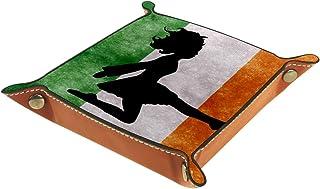 Danseuse irlandaise sur le drapeau irlandais - Plateau de chevet en cuir - Boîte de rangement pour bijoux, clés, portefeui...