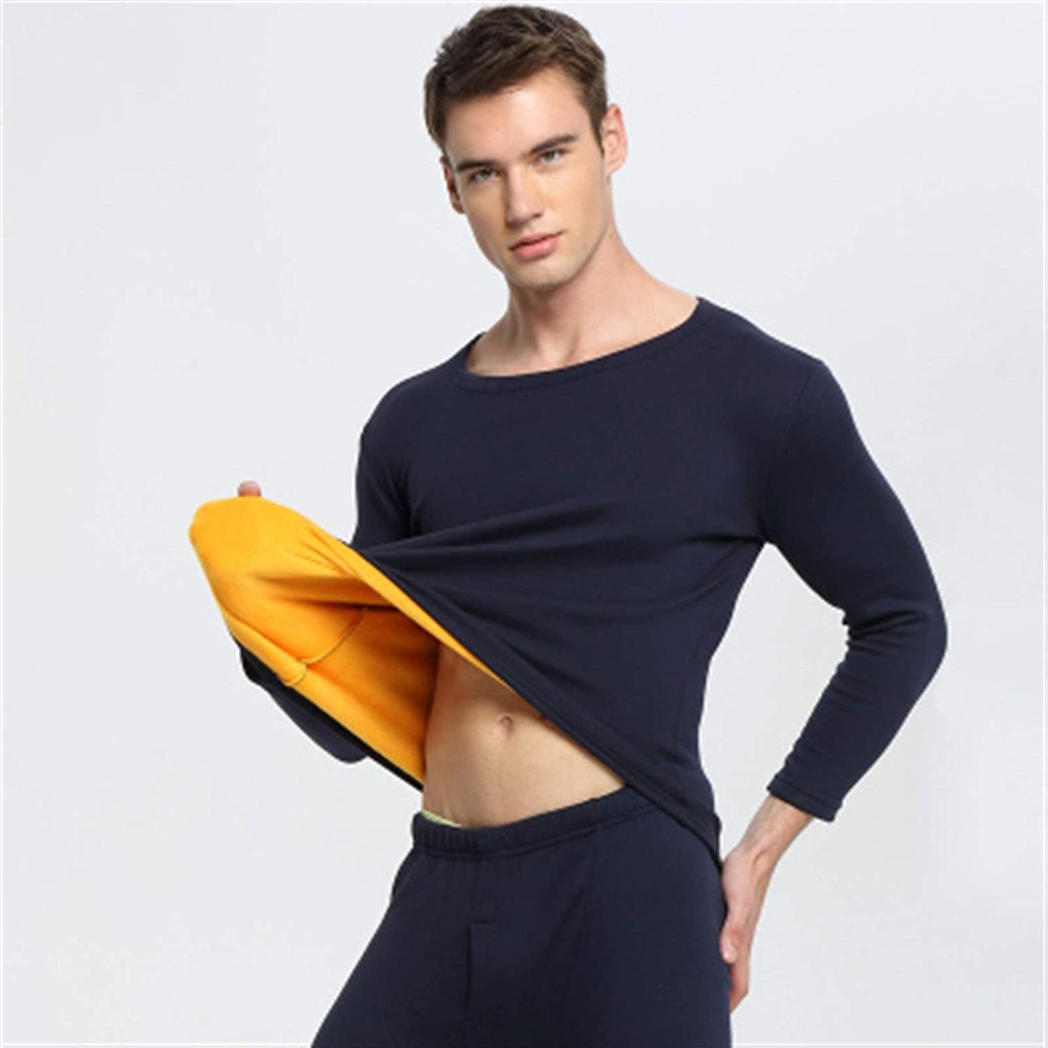 ZHANGZEHONG Thermal Underwear Men Winter Women Long Johns Sets Fleece Keep Warm in Cold Weather Size L to 6XL (Color : Navyblue, Size : XXXXX-Large)