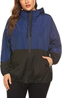Women's Plus Size Raincoat Rain Jacket Lightweight Waterproof Coat Jacket Windbreaker with Hooded