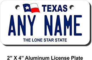 TEAMLOGO Personalized Texas License Plate - Sizes for Kid's Bikes, Cars, Trucks, Cart, Key Rings Version 1