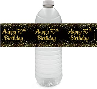 Black and Gold 70th Birthday Party Water Bottle Labels - 24 Stickers