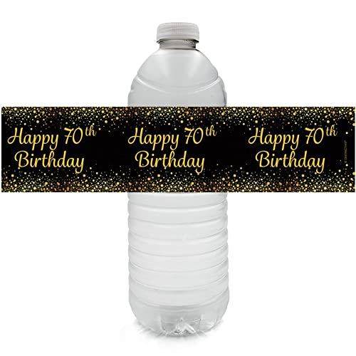 Black And Gold 70th Birthday Party Water Bottle Labels 24 Count