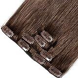 SEGO ® Extension a Clip Cheveux Naturel - Rajout Vrai Cheveux Humains Lisse 4 Pcs - 100% Remy Human Hair Clip in Extension Clip Meche - 30CM 04#Marron Chocolat