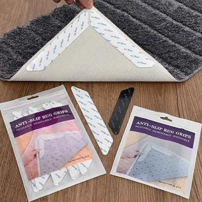 Non slip rug pads, Washable & reusable carpet tape for area rugs over carpet wood floors, anti slip rug grips for hardwood tile floors,keep your rug in place & Make corner & Edges flat