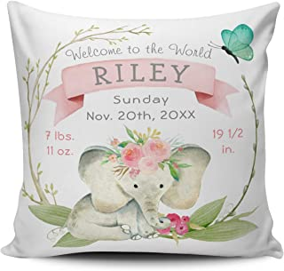Fanaing Green Pink Baby Girl Birth Stats Cute Elephant Pillowcase Home Sofa Decorative 18X18 inch Square Throw Pillow Case Decor Cushion Covers One-Side Printed