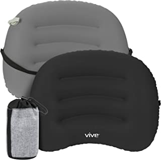 Vive Inflatable Lumbar Support Cushion with Bag - Backrest Pillow for Car, Office Chair - Adjustable Firm Air Lower Back, Neck Pain, Sciatica Relief - Compact, Portable Camping Travel Headrest