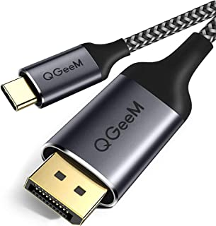 USB C to Displayport Cable for Home Office,QGeeM 6ft (4K@60HZ,2K@165Hz) Thunderbolt 3 to Displayport Cable Compatible with MacBook Pro,ipad pro 2018,Surface Book 2, Dell XPS Sumsang Galaxy S9 S10