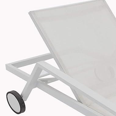 Whiteline Modern Outdoor Living White Bondi Contemporary Outdoor Chaise, 2 Piece Set