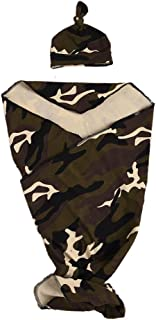 Newborn Baby Swaddle Blanket with Hat Set, Camouflage Receiving Blankets (Camouflage, 0-24 Months)