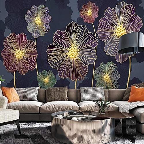 Fototapeten Glühende Blumen In Der Nacht 400x280cm Non-Woven Wallpaper xxl Modern Wall Decoration Design Wall Decoration Living Room Bedroom Office Hallway