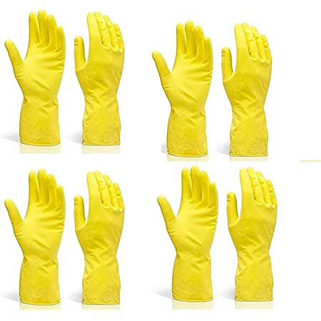 Pehel International ® | Reusable Natural Latex Safety Gloves | for Washing, Cleaning, Kitchen, Garden, Sanitation & Other Daily uses, Yellow Color | Set of 4 Pair