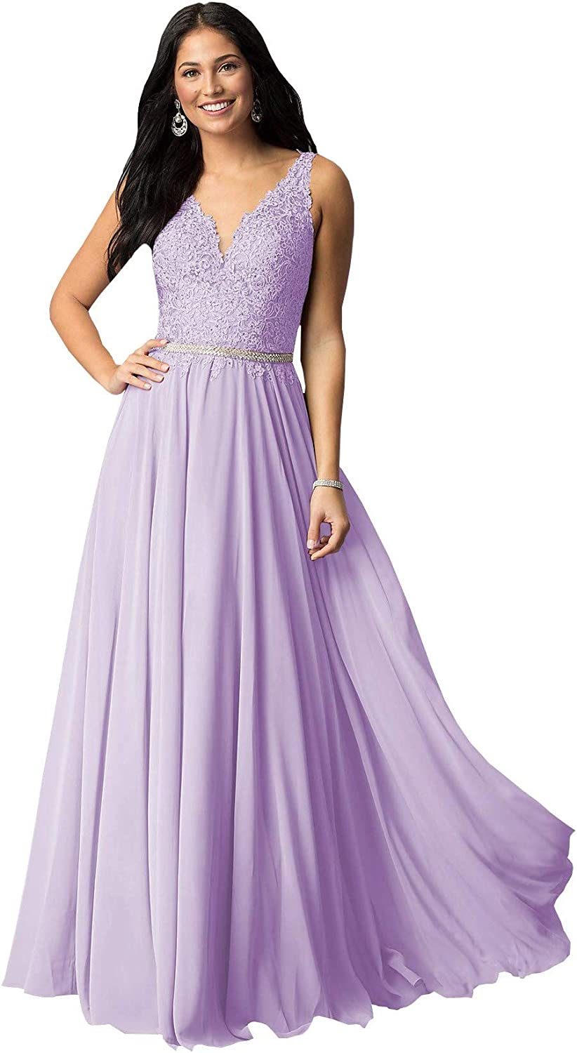Women's Lace V Neck Bridesmaid Dresses Long for Wedding Chiffon Prom Party Skirt A-Line Formal Evening Gown