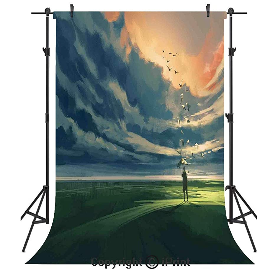 Abstract Home Decor Photography Backdrops,Man Holding an Umbrella Standing Alone in Meadow Cloudy Horizon Decorative,Birthday Party Seamless Photo Studio Booth Background Banner 3x5ft,